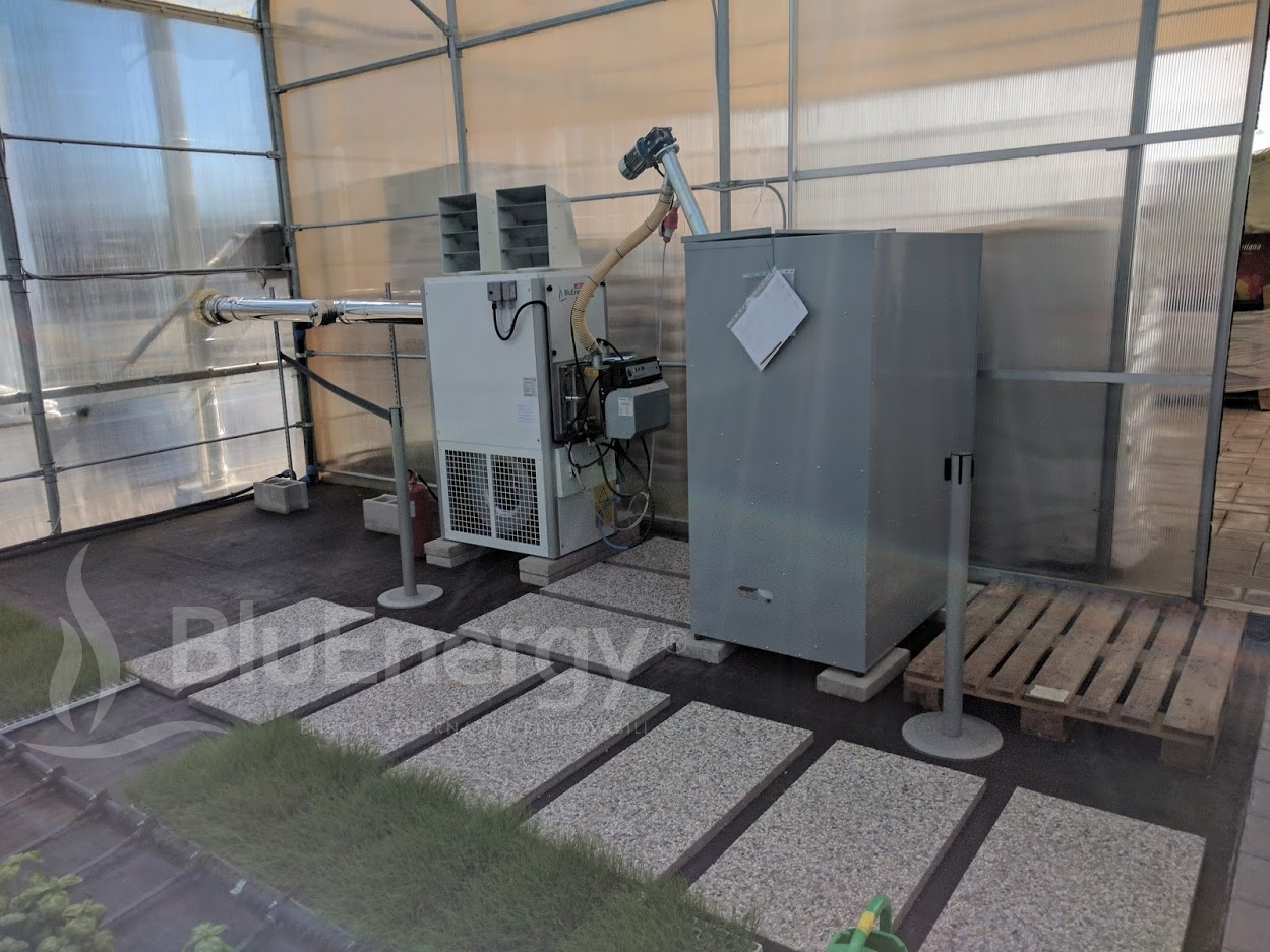 pellet hot air generator for heating Serra 400 sqm