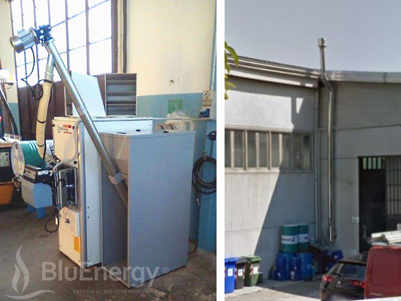 35kW pellet hot air generator installed in a shed in the province of Turin. Internal and external view