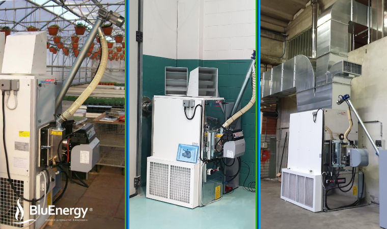 Rental system for industrial warehouse heating. AirCalor pellet hot air generators
