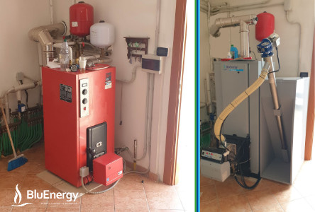 Oil boiler replacement with new Blucalor E pellet boiler with five-star certificate