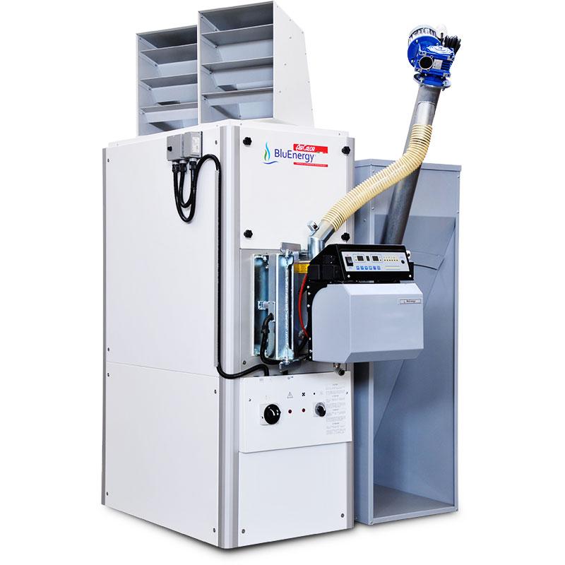 generatore-aria-calda-con-caldaia-a-pellet-completa-con-serbatoio-aircalor-bluenergy